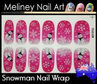pink snowman nail wrap