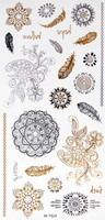 Metallic Flash Temporary Body Tattoos flower feather