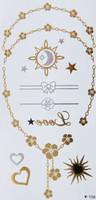 Metallic Flash Temporary Body Tattoos flower chain gold