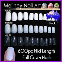 full cover mid length false nail tips