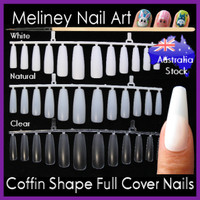 coffin shaped full cover nails