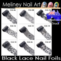 Black lace nail foils