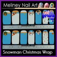snowman nail wrap