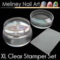 XL round clear stamper and scraper for stamping nail art