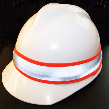 Reflective hard hat band with with glo orange trim.
