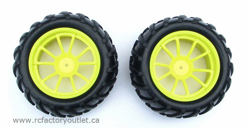08010 1/10 MONSTER TRUCK WHEEL, TIRE AND YELLOW RIM COMPLETE ( 2 PC) HSP, Redcat