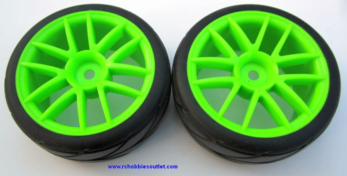 02020 02185 1/10 Scale Wheel Tire and Green Rim Complete X 2