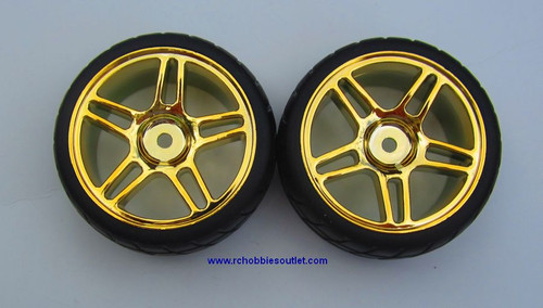 02020 02185 1/10 Scale Wheel Tire And Light Gold Rim Complete X 2