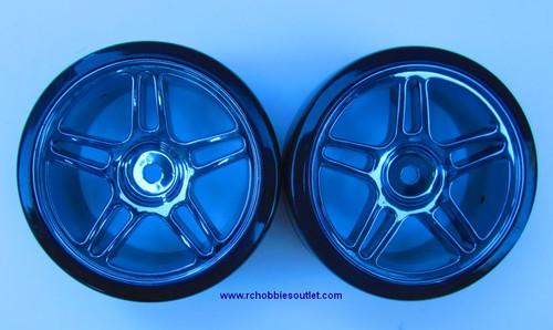 07003 1/10 Scale Drift Tires Rims Wheels Complete Blue 2
