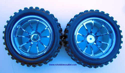08010 N B 1/10 MONSTER TRUCK BLUE FACTORY TEAM WHEEL  (2 PC)