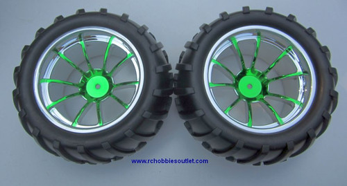 08010N 1/10 Monster Truck Wheel Tire And Green Rim Complete (2 PC)