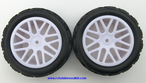 30712 1/10 Scale Wheel Tire and White Rim Complete 2 Wheels per package