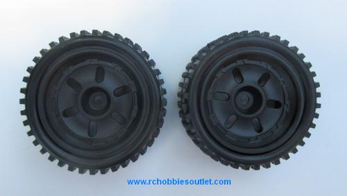 40210 Rear Wheel, Tire and Black Rim  ( 2 wheels complete)