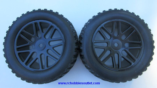 15520 15502 Wheels --Tire & Black Rim  for Short Course Truck HSP, Redcat