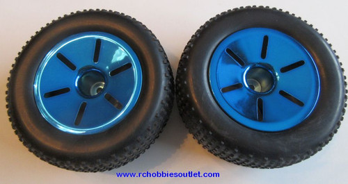 17703 Wheel Complete Blue Rim  2 pieces HSP , Redcat, HIMOTO ETC