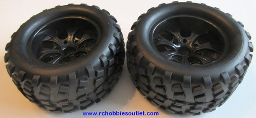 08010 1/10 Monster Oversize Truck Wheel, Tire and Black Rim Complete ( 2 PC) HSP, Redcat