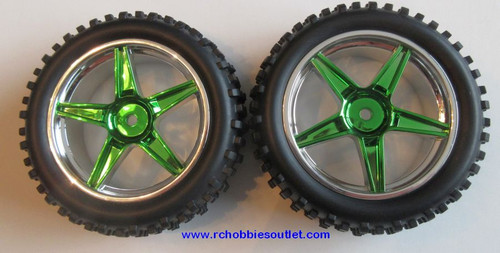 06010 1/10 scale Tire & Rim Green Chrome HSP Redcat