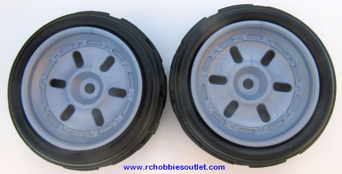 40208 Front Wheels, Tire and Grey Rim  ( 2 wheels complete) for 1/12 Scale Buggy