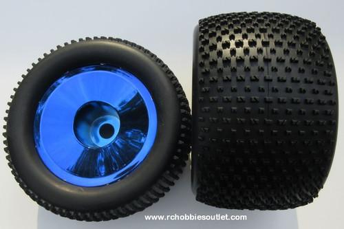 86722  Wheel Tire & Blue Chrome Rim for HSP 1/8 Scale Truggy ( 2 pieces) HSP, Redcat