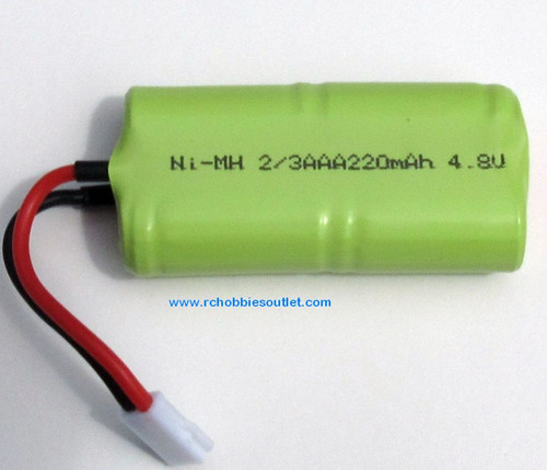 24643   4.8v  NIMH Battery 220 mah  Rechargeable for HSP, ECX  1/24 Scale Vehicles