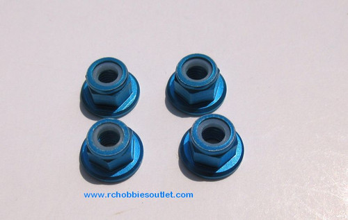 102049 or 02190  Blue Aluminum  Nylon Lock Nut M4 HSP Redcat, etc 02055