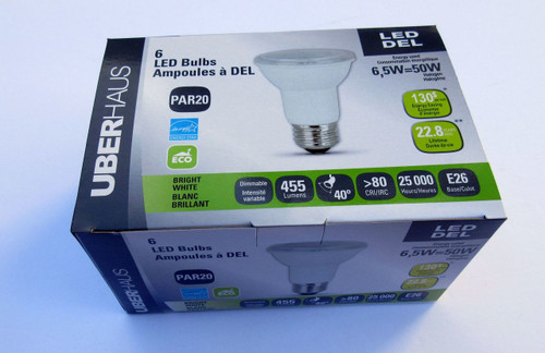 PAR20 LED Light Bulb Pack ( 6 bulbs) -- Lower your electric costs