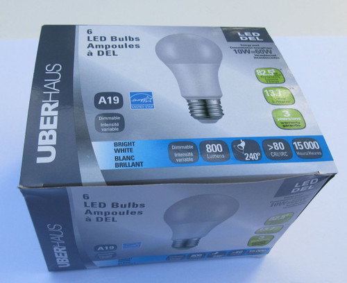 A19 LED Light Bulb Pack ( 6 bulbs) 60W equivalent-- Lower your electric costs