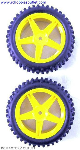 06026 HSP 2 Rear Wheel & Tire Yellow 1/10