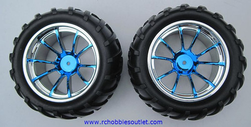 08010 1/10 MONSTER TRUCK WHEEL, TIRE AND BLUE RIM COMPLETE ( 2 PC) HSP, Redcat