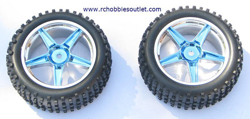06010 1/10 Scale Front Tire & Rim Blue HSP ATOMIC