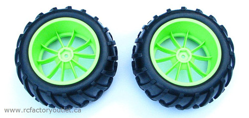 08010 1/10 MONSTER TRUCK WHEEL, TIRE AND GREEN RIM COMPLETE ( 2 PC)  HSP, Redcat
