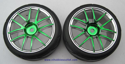 02020 02185 1/10 SCALE WHEEL, TIRE AND GREEN RIM COMPLETE X 2