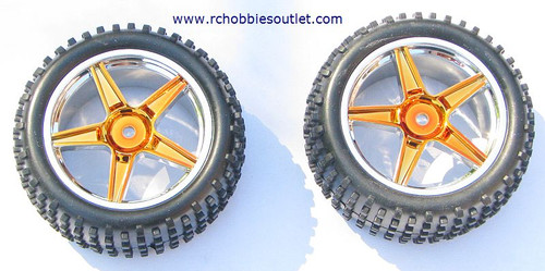 06026 HSP 2 Rear Wheel & Tire Gold 1/10