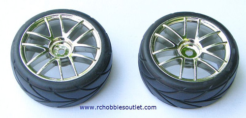 02020 02185 1/10 SCALE WHEEL, TIRE AND SILVER RIM COMPLETE X 2