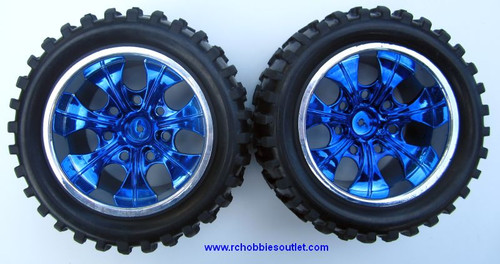 08010 N  1/10 MONSTER TRUCK BLUE FACTORY TEAM WHEEL  (2 PC) HSP, Redcat