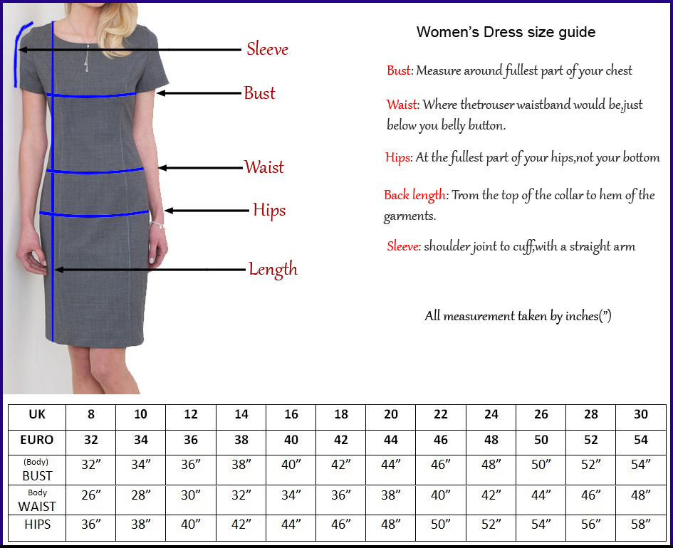 Ladies Skirt size guide