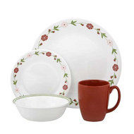 Corelle Contours 16-Piece Dinnerware Set Spring Pink Service for 4 New