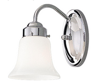 Opal Glass Collection 1-Light Chrome Bath Light