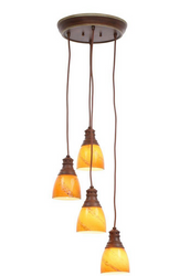 Hampton Bay Adjustable Height 4 light Pendant  Walnut 541008