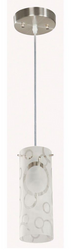 1-Light Brushed Nickel Mini Pendant with Bubble Pattern Etched White Glass
