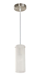 (2) 1-Light Frosted White Glass Satin Nickel Mini Pendants