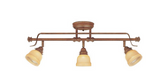 3-Light Adjustable Semi-Flush Mount Walnut Light Fixture w/ Tea-Stained Glass Shades