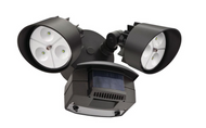 Lithonia Twin Head LED Outdoor Bronze Motion-Sensing Flood Light