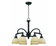 Ameila 6-Light Oiled Rubbed Bronze Chandelier with Glass