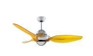 Vento Clover 54 in. Chrome Ceiling Fan with 3 Translucent Yellow Blades