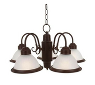 Commercial Electric Halophane Nutmeg 5-Light Chandelier