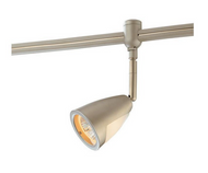 Flex White Track Lighting Head with Metal/Glass Shade