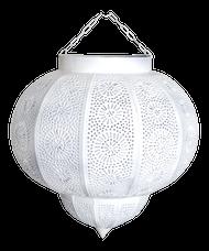 Moroccan White Painted Metal Hanging Lamp