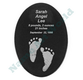 "Remembrance - Your baby footprint -Promotional Product - Black Granite Oval Tile - 5"" x 7"""
