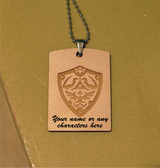 TRIFORCE LOGO  the Legend of Zelda Wooden Dog Tag - Stainless Steel Ball chain 30 inch - Free Engraving